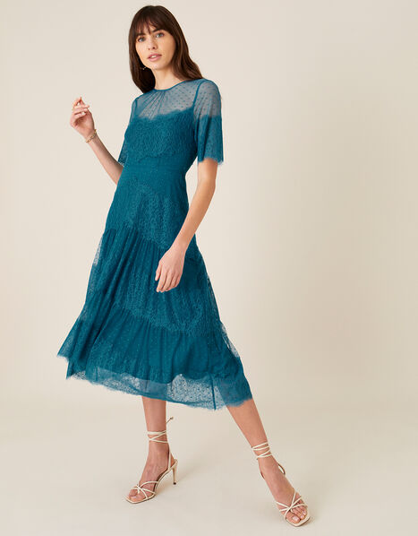 Millie Spot Lace Mesh Dress Teal, Teal (TEAL), large