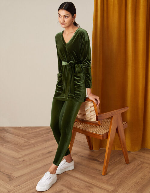 Belted Longline Velvet Top, Green (OLIVE), large