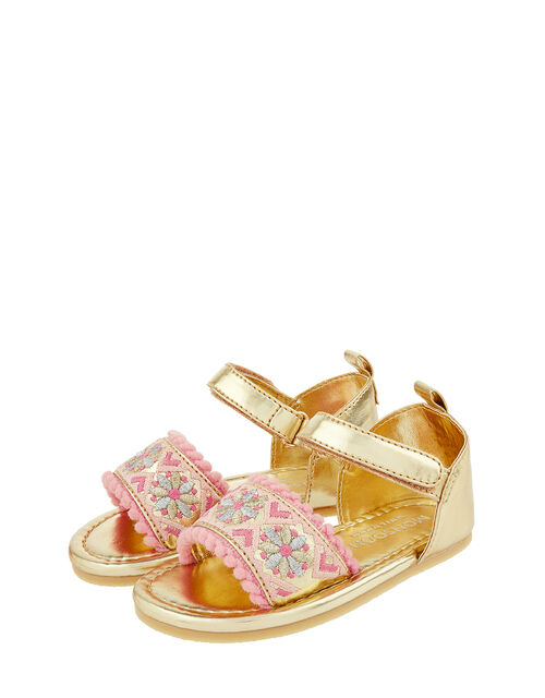 Baby Emily Embroidered Walker Sandals, Gold (GOLD), large