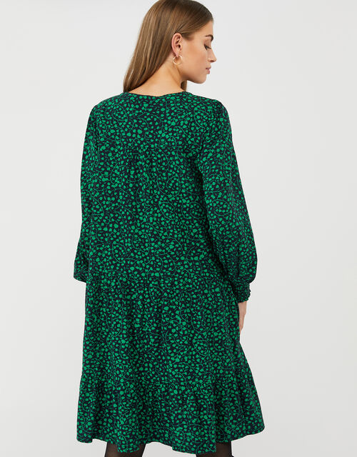 Hulia Printed Jersey Smock Dress with Organic Cotton, Blue (NAVY), large