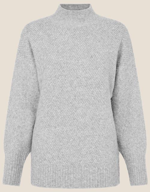LOUNGE Lizzie High Neck Jumper, Grey (GREY), large