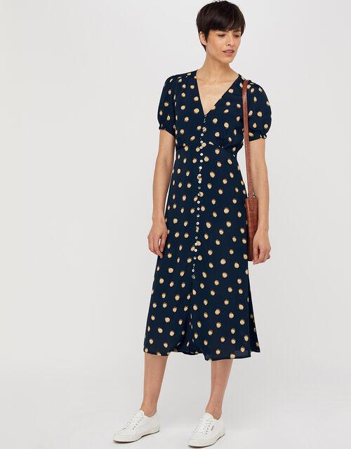 Percy Spot Print Button Dress, Navy, large