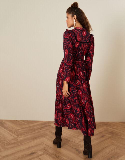 Paisley Print Midi Dress, Red (RED), large