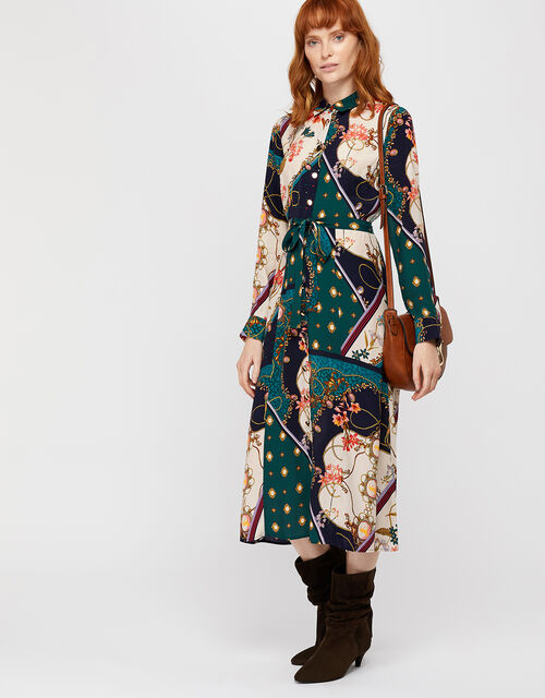 Pearly Queen Printed Shirt Dress, Teal, large