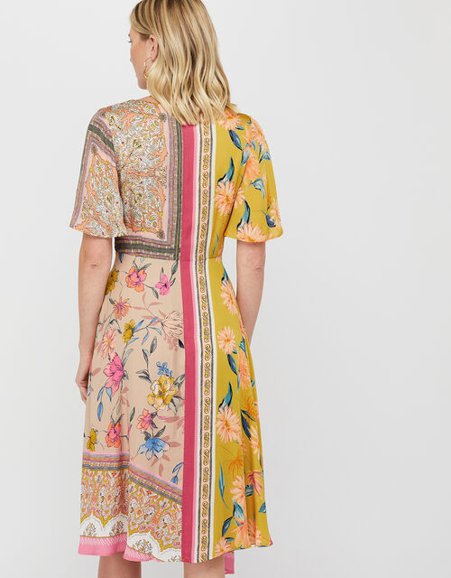 Scandi Scarf Print Hanky Hem Dress, Yellow, large