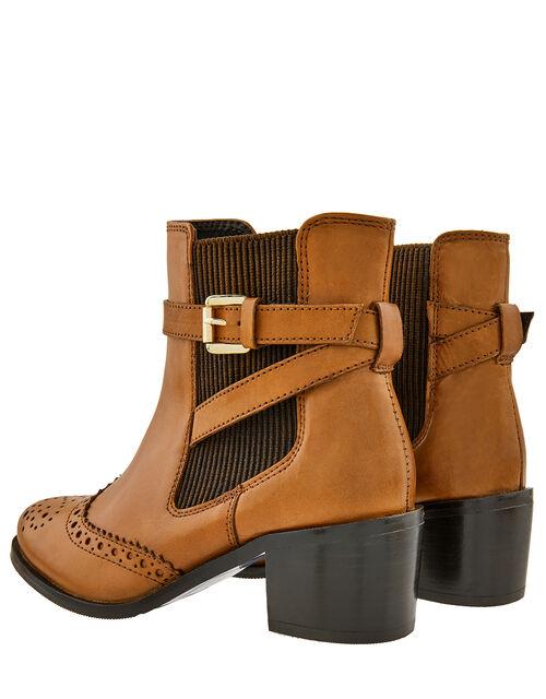 Beryl Brogue Buckle Leather Boots, Tan (TAN), large