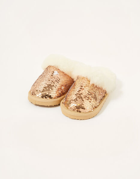 Sequin Fluffy Slippers Gold, Gold (ROSE GOLD), large