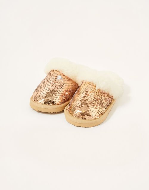 Sequin Fluffy Slippers, Gold (ROSE GOLD), large
