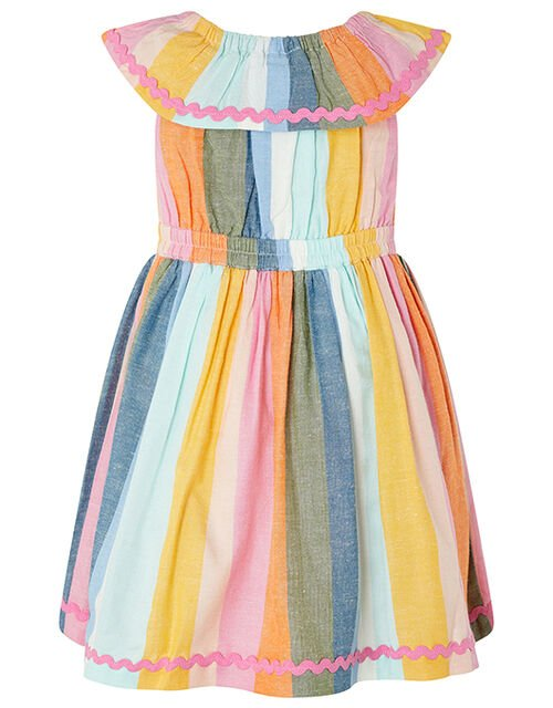Baby Molly Striped Dress in Linen Blend, Pink (PINK), large