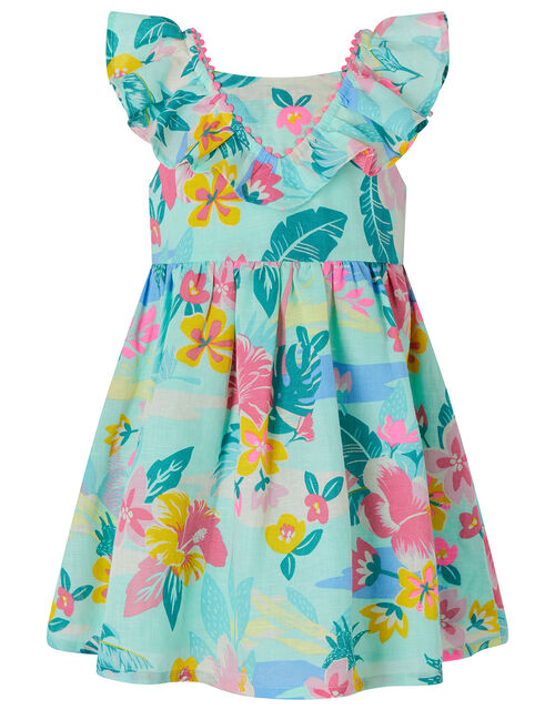 Baby Petunia Floral Dress in Linen and Organic Cotton, Blue (AQUA), large