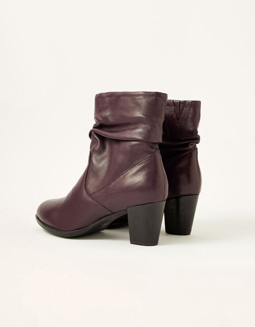 Shona Slouch Leather Ankle Boots, Red (BURGUNDY), large