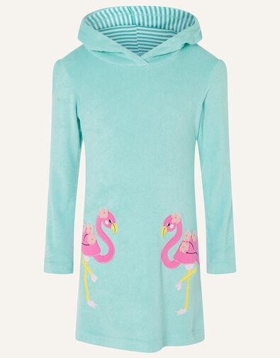 Flamingo Towelling Dress Blue, Blue (TURQUOISE), large