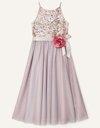 Truth Sequin Corsage Dress  Pink, Pink (DUSKY PINK), large