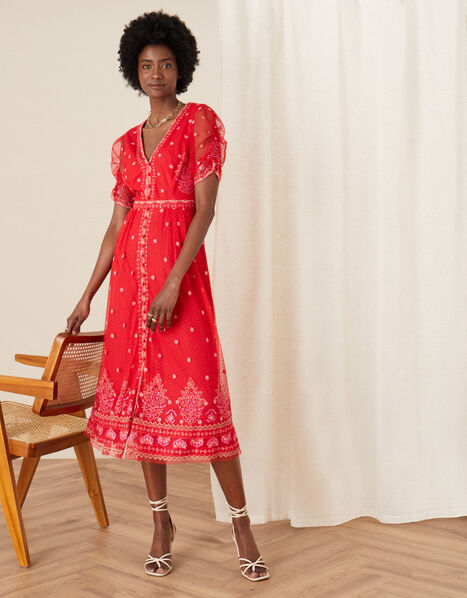 Danna Embroidered Mesh Midi Dress Red, Red (RED), large