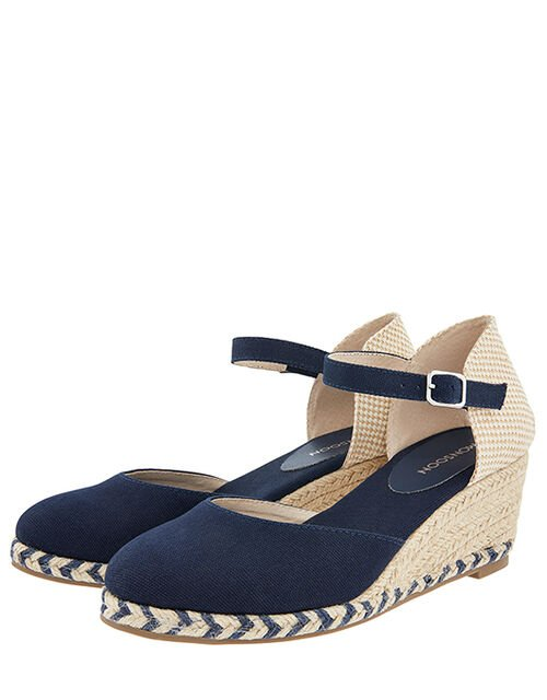 Tabby Two-Part Low Wedges, Blue (NAVY), large