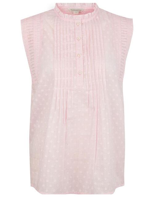 Dot Tank Top in Organic Cotton, Pink (BLUSH), large