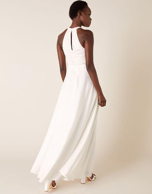 Madison Embroidered Halter Bridal Dress, Ivory (IVORY), large