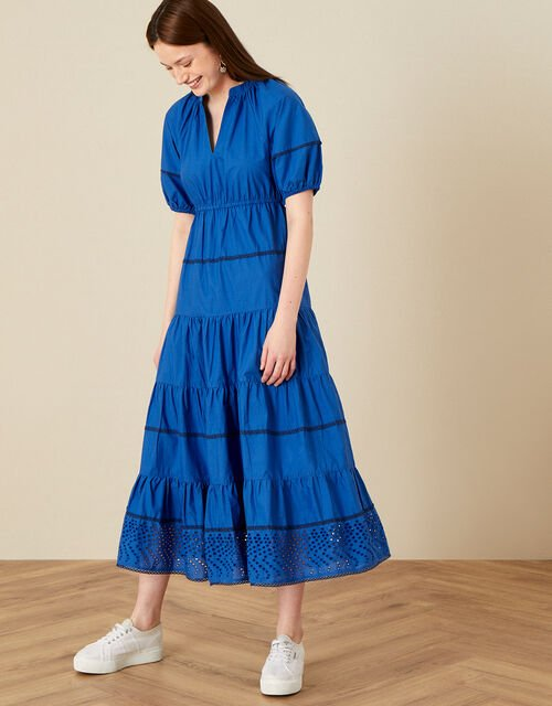 Tiered Midi Dress in Pure Cotton, Blue (COBALT), large