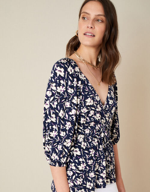 Mid Scale Floral Print V-Neck Jersey Top, Blue (NAVY), large
