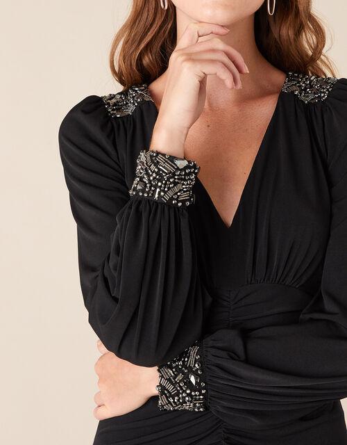 Ivie Embellished Slinky Jersey Dress, Black (BLACK), large