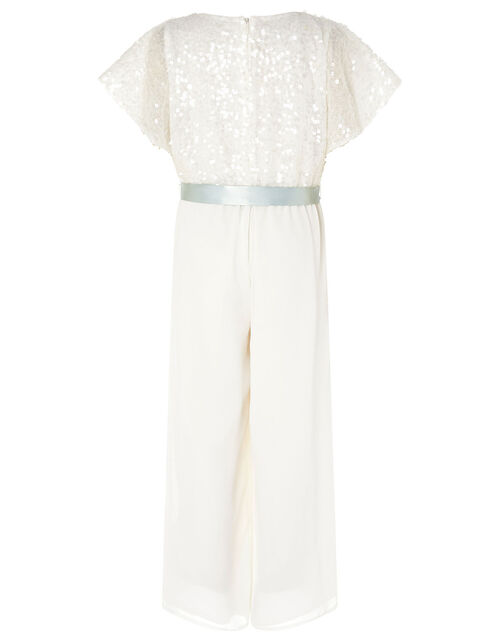 Sequin Cape Sleeve Jumpsuit, Ivory (IVORY), large