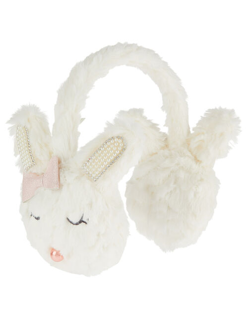 Pearl Fluffy Bunny Earmuffs, , large
