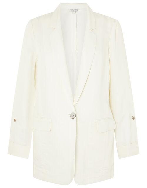 Smart Longline Blazer in Linen Blend, Ivory (IVORY), large