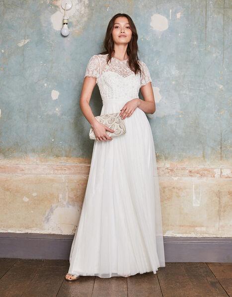 Olive Floral Embellished Tulle Bridal Dress Ivory, Ivory (IVORY), large