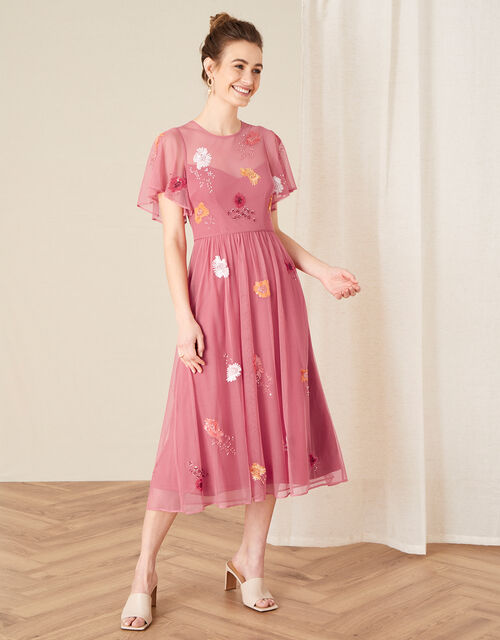 Elissia Embellished Midi Dress in Recycled Fabric, Orange (CORAL), large