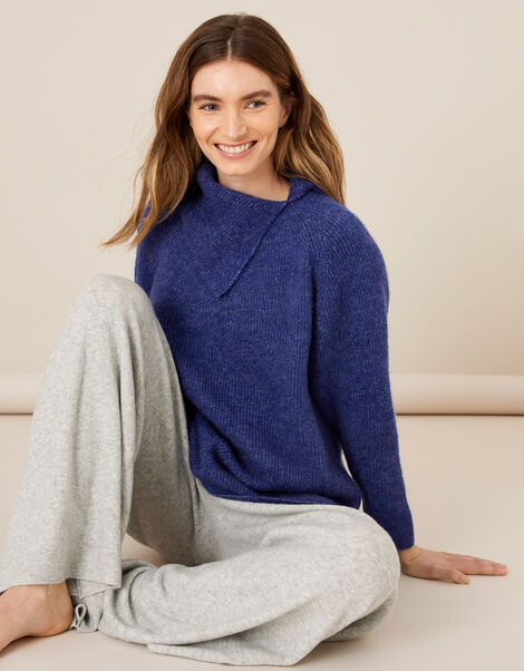 LOUNGE Split Neck Knit Jumper  Blue, Blue (COBALT), large