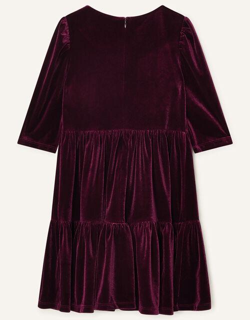 Tiered Velvet Dress, Red (BURGUNDY), large