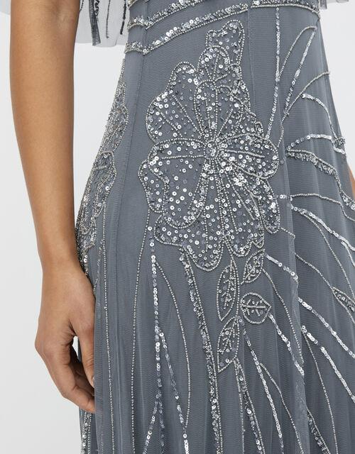 Florence Embellished Flutter Sleeve Maxi Dress, Blue (BLUE), large
