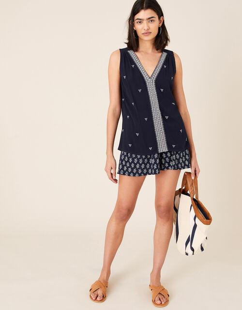 Printed Shorts , Blue (NAVY), large