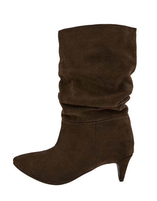 Sal Slouch Suede Boots, Brown (CHOCOLATE), large
