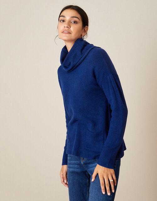Cowl Neck Cosy Jumper , Blue (COBALT), large