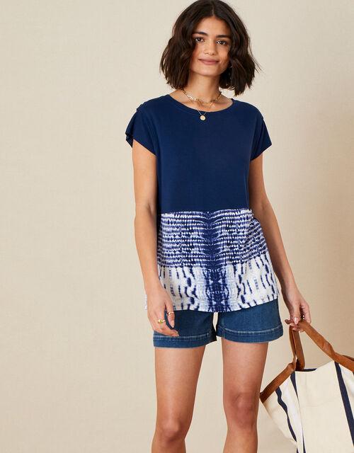 Tie Dye Hem T-Shirt, Blue (NAVY), large