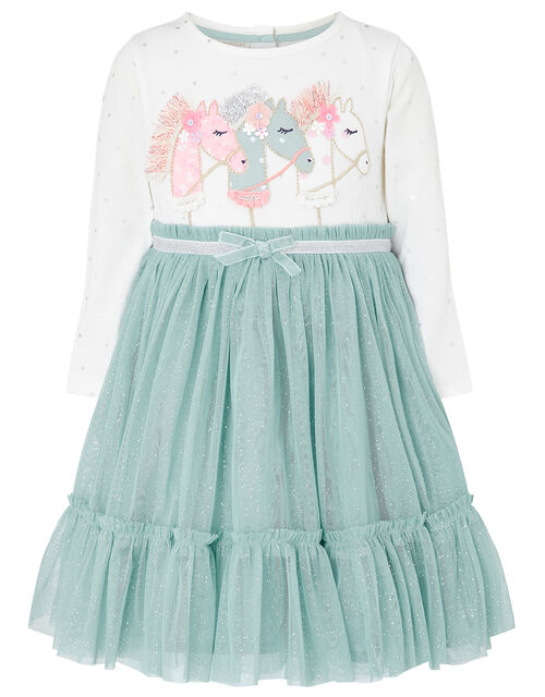 Baby Unicorn Disco Dress, Teal (TEAL), large