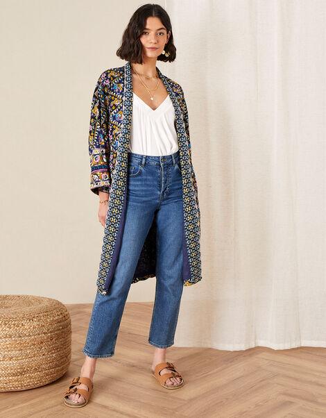 Pablo Printed Kimono Blue, Blue (NAVY), large