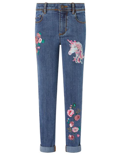 Eliza Sequin Unicorn Jeans, Blue (BLUE), large