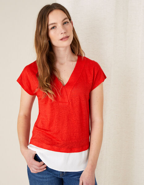 Lenny Woven Mix Top in Linen Blend Red, Red (RED), large