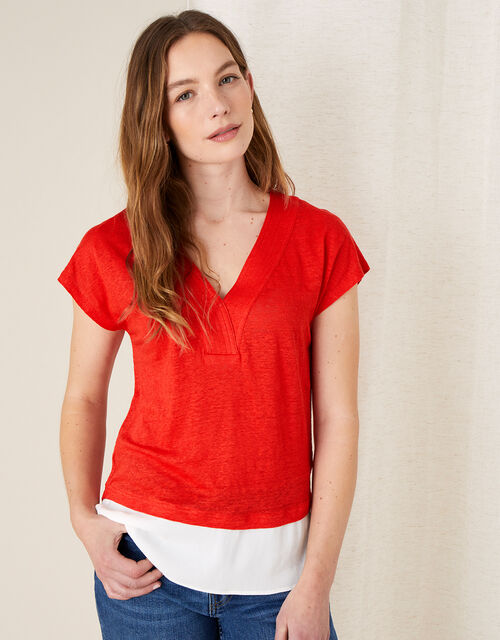 Lenny Woven Mix Top in Linen Blend, Red (RED), large