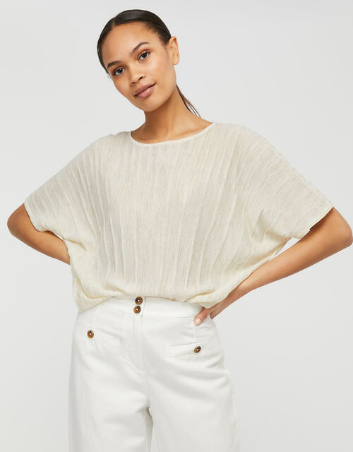 Fan Knit Top in Linen Blend, Natural (NEUTRAL), large