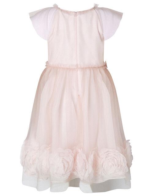 3D Rose Glitter Tulle Dress, Pink (PALE PINK), large