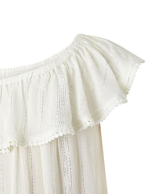 Willabelle Asymmetric Metallic Maxi Dress, White (WHITE), large
