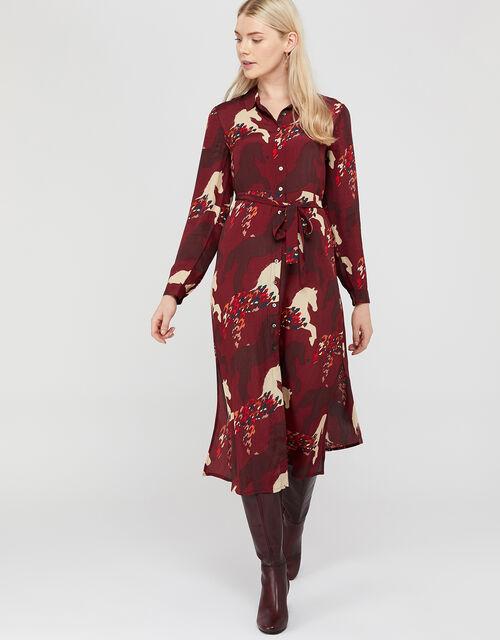 Holly Horse Print Shirt Dress, Berry, large