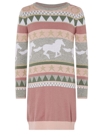 Horse and Star Knit Dress Pink, Pink (PALE PINK), large