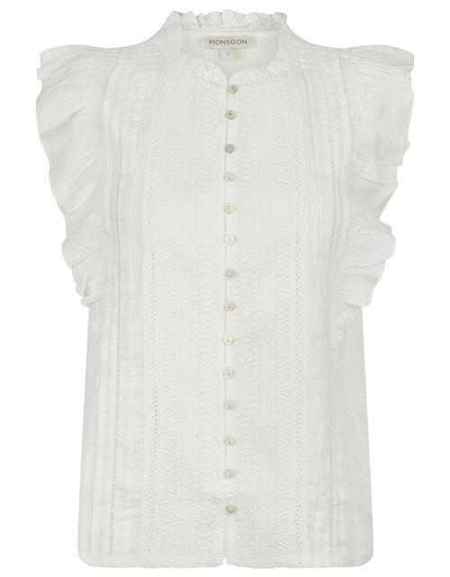 Elizabeth Embroidered Jersey Sleeveless Shirt, Ivory (IVORY), large