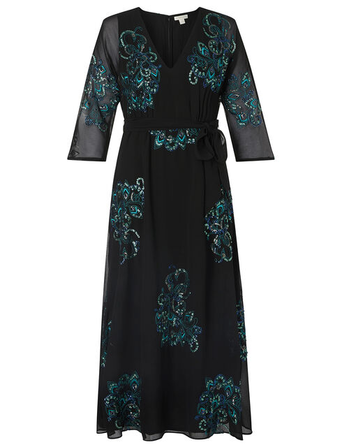 Daisy Peacock Embellished Midi Dress, Black (BLACK), large