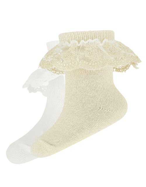 Baby 2 Pack Lace Socks, Gold (GOLD), large