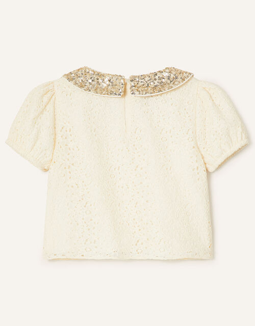 Floral Lace Set with Detachable Sequin Collar, Multi (MULTI), large